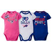Baby Buffalo Bills 3-Pack Love Bodysuit Set