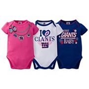 Baby New York Giants 3-Pack Love Bodysuit Set