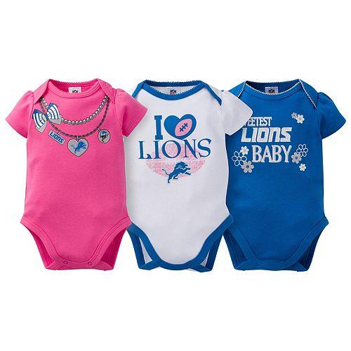 Baby Detroit Lions 3-Pack Love Bodysuit Set