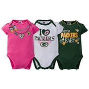 Baby Green Bay Packers 3-Pack Love Bodysuit Set
