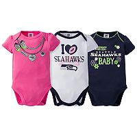 Baby Seattle Seahawks 3-Pack Love Bodysuit Set