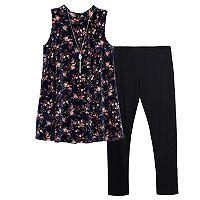 Girls 7-16 IZ Amy Byer Flower Velvet Tunic & Leggings Set with Necklace