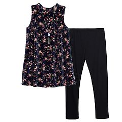 Girls 7-16 IZ Amy Byer Flower Velvet Tunic & Leggings Set with Necklace
