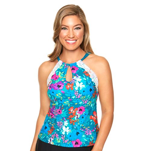 Women's Aqua Couture Floral High-Neck Tankini Top