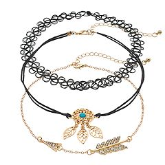Simulated Crystal Arrow & Leaf Choker Necklace Set