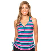 Women's Aqua Couture Striped Drawstring Tankini Top
