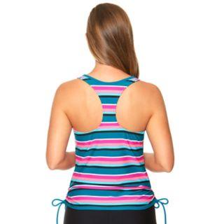 Women's Aqua Couture Striped Drawstring Tankini Top