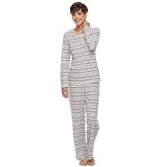 Women's Croft & Barrow® Pajamas: Textured Knit Henley & Pants PJ Set