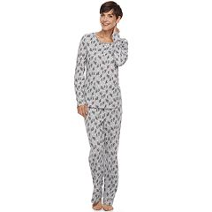Petite Croft & Barrow® Pajamas: Textured Knit Henley & Pants PJ Set