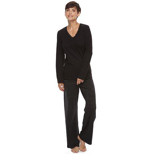 Women s Croft   Barrow® Pajamas  V-Neck Sleep Top   Pants PJ Set 1f2e9be76
