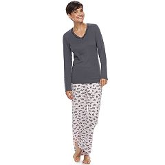 Women's Croft & Barrow® Pajamas: V-Neck Top & Pants PJ Set