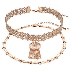 Choker Medallion Fringe Necklace