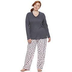 Plus Size Croft & Barrow® Pajamas: V-Neck Top & Pants PJ Set