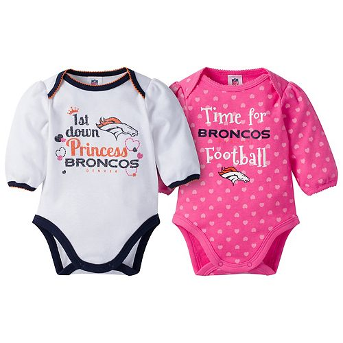 Baby Girl Denver Broncos 2-Pack Football Bodysuit Set