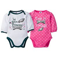 Baby Girl Philadelphia Eagles 2-Pack Football Bodysuit Set