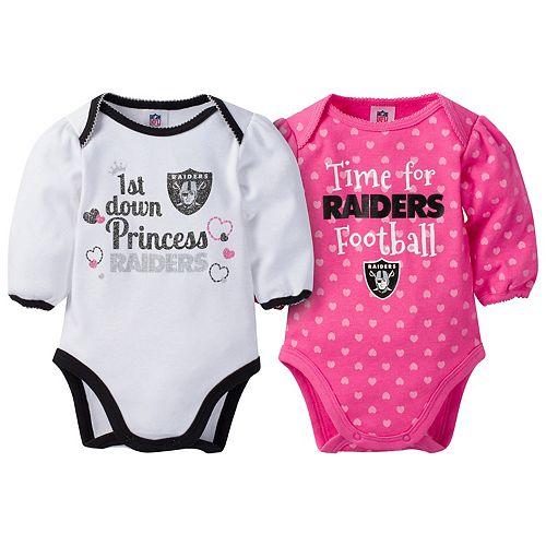 Baby Girl Oakland Raiders 2-Pack Football Bodysuit Set