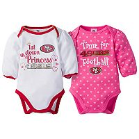Baby Girl San Francisco 49ers 2-Pack Football Bodysuit Set