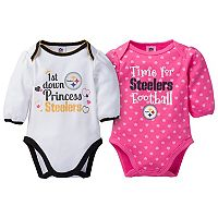 Baby Girl Pittsburgh Steelers 2-Pack Football Bodysuit Set