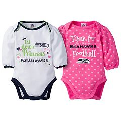 Baby Girl Seattle Seahawks 2-Pack Football Bodysuit Set
