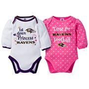 Baby Girl Baltimore Ravens 2-Pack Football Bodysuit Set