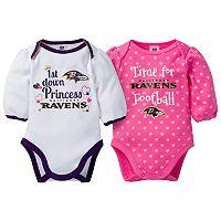 Baby Girl Baltimore Ravens 2-Pack Football Bodysuit Set