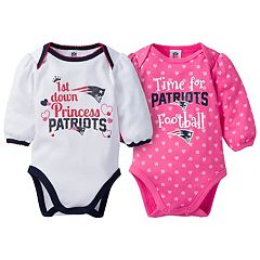 Baby Girl New England Patriots 2-Pack Football Bodysuit Set