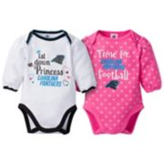 Baby Girl Carolina Panthers 2-Pack Football Bodysuit Set