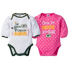 Baby Girl Green Bay Packers 2-Pack Football Bodysuit Set