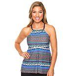Women's Aqua Couture Waist Minimizer Tribal Tankini Top