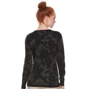 Women's ELLE? Floral Jacquard Crewneck Sweater