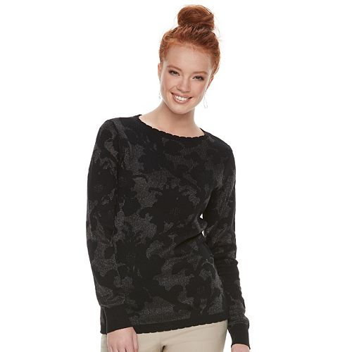 Women's ELLE™ Floral Jacquard Crewneck Sweater