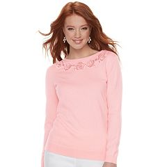 Women's ELLE™ Rose Embroidered Crewneck Sweater