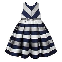 Girls 7-16 & Plus Size American Princess Metallic Striped Dress