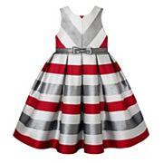 Girls 7-16 & Plus Size American Princess Metallic Striped Dress