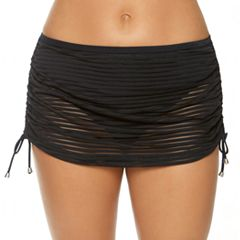 Women's Aqua Couture Shadow-Stripe Skirtini Bottoms