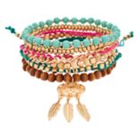 Bead & Feather Stretch Bracelet Set
