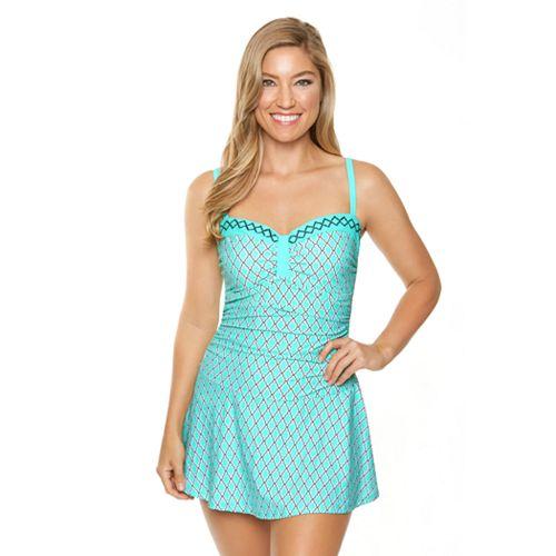 e5f99381616 Women's Aqua Couture Moroccan Geometric Swimdress