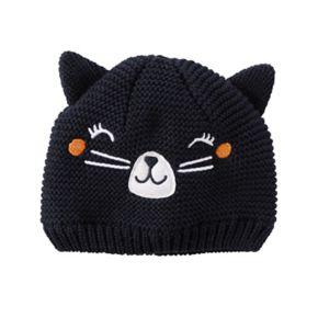 Baby Girl Carter's Halloween Knit Cat Face Beanie