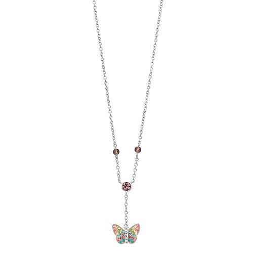 Silver Plated Crystal Butterfly Y Necklace