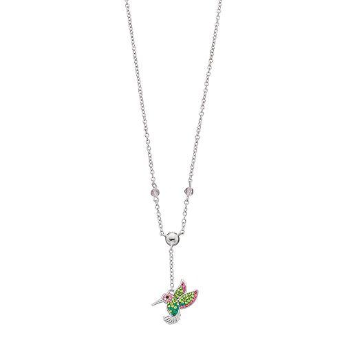 Silver Plated Crystal Hummingbird Y Necklace