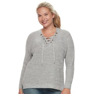 Juniors' Plus Size It's Our Time Lace-Up Sweater