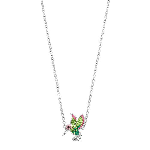 Silver Plated Crystal Hummingbird Necklace