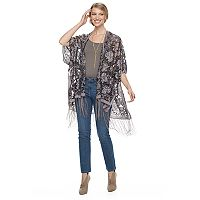 Women's Manhattan Bordered Flower and Leaves Ruana