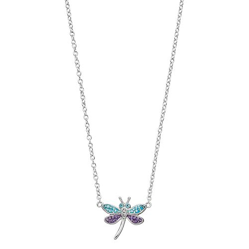 Silver Plated Crystal Dragonfly Necklace