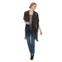 Women's Manhattan Paisley Burnout Ruana with Fringe