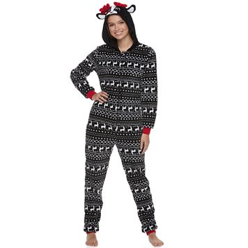 Juniors' Peace, Love & Fashion Reindeer Costume One-Piece Pajamas