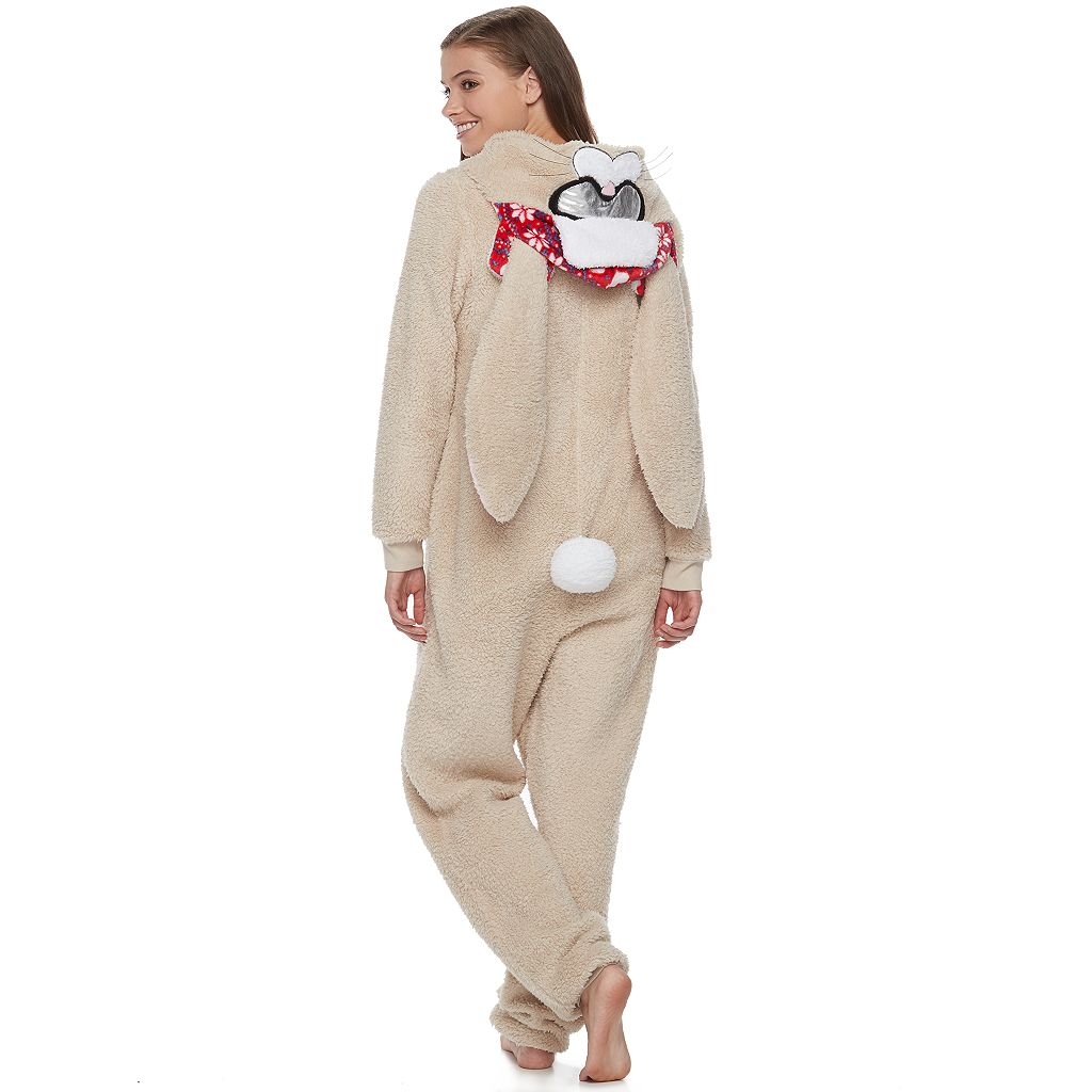 Juniors' Peace, Love & Fashion Bunny Skiing Costume One-Piece Pajamas