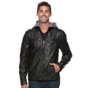 Men's Urban Republic Faux-Leather Hooded Jacket