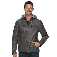 Men's Urban Republic Faux-Leather Hooded Jacket