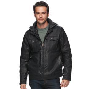 Men's Urban Republic Modern-Fit Faux-Leather Hooded Jacket
